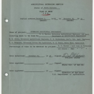 Agricultural Extension Service State of North Carolina - Plan of Work 1941