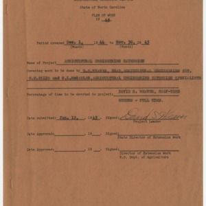 Agricultural Engineering Extension Plan of Work, North Carolina, 1945