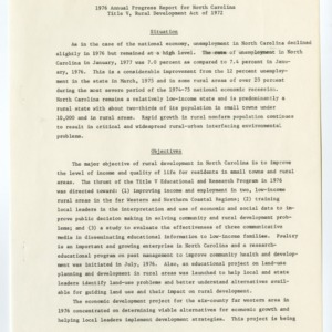 1976 Annual Progress Report for North Carolina Title V, Rural Development Act of 1972