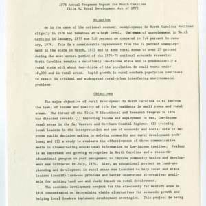 1976 Annual Progress Report for North Carolina Title V, Rural Development Act of 1972