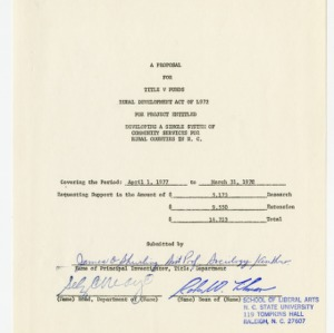 A Proposal for Title V Funding Rural Development Act of 1972 for Project Entitled Developing a Single System of Community Services for Rural Counties in N.C.