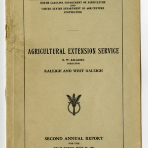 Second Annual Report of the North Carolina Agricultural Extension Service of the Year Ended June 30, 1916