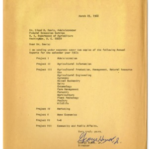 1967 Annual Reports Project Letter
