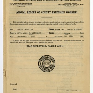 Cooperative Extension Service -- Annual Statistical Report 1925-1926