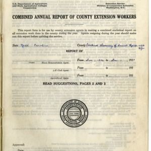 Combined Annual Report of County Extension Workers 1937