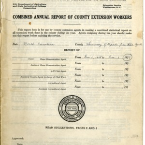 Combined Annual Report of County Extension Workers 1939