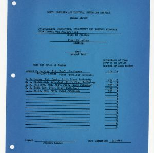 North Carolina Agricultural Extension Service Annual Report, 1965, Plant Pathology
