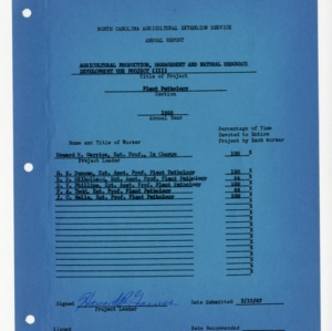 North Carolina Agricultural Extension Service Annual Report, 1966, Plant Pathology