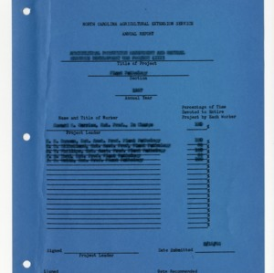 North Carolina Agricultural Extension Service Annual Report, 1967, Plant Pathology