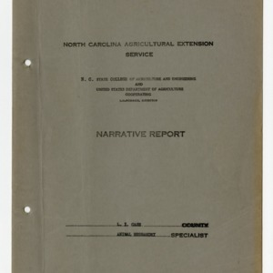 Animal Husbandry Narrative Report 1935