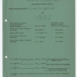 Animal Husbandry Extension Plan of Work -- 1952