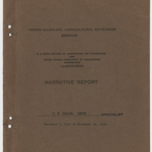 North Carolina Agricultural Extension Service N.C. State College of Agriculture and Engineering and United States Department of Agriculture Cooperating - Narrative Report