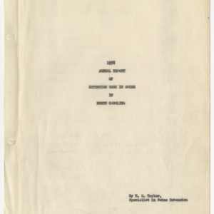 1938 Annual Report of Extension Work in Swine in North Carolina