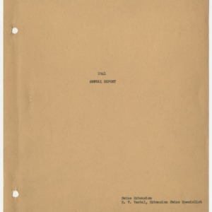 1941 Annual Report of Extension Work in Swine in North Carolina