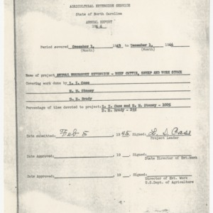 Annual Report of Animal Husbandry Extension - Beef Cattle, Sheep, and Work Stock, North Carolina, 1944