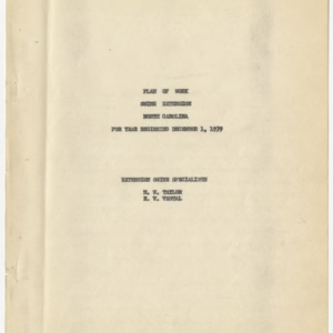 Agricultural Extension Service - State of North Carolina Plan of Work 1940