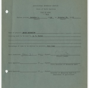 Agricultural Extension Service - State of North Carolina Plan of Work 1941