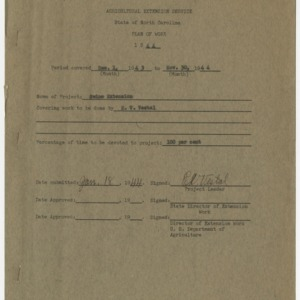 Agricultural Extension Service - State of North Carolina Plan of Work 1944
