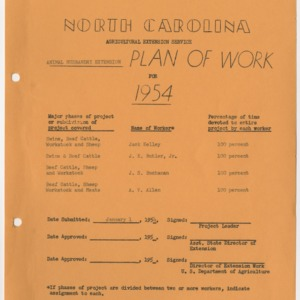 Animal Husbandry Extension Plan of Work for 1954