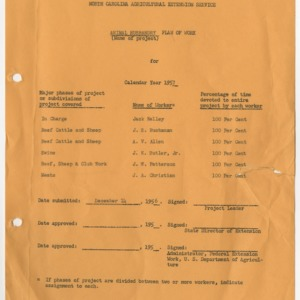 Animal Husbandry Extension Plan of Work for 1957