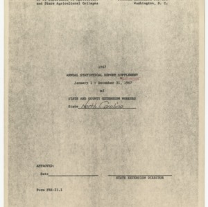 Annual Statistical Report Supplement of State and County Extension Workers, North Carolina, 1967