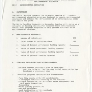 1992-1995 Cumulative Accomplishment Report North Carolina Environmental Education