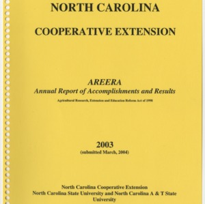North Carolina Cooperative Extension - 2003 - Annual Report of Accomplishments and Results