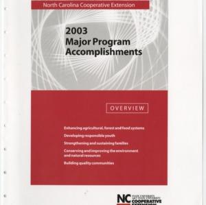 North Carolina Cooperative Extension - 2003 - Major Program Accomplishments