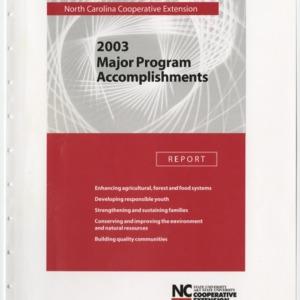 North Carolina Cooperative Extension - 2003 - Program Accomplishments Report