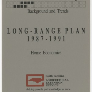 Information for Planning: Background and Trends - Long-Range Plan 1987-1991 - Home Economics