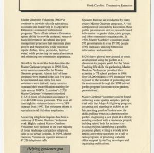 1998 Master Gardener Program Summary Report