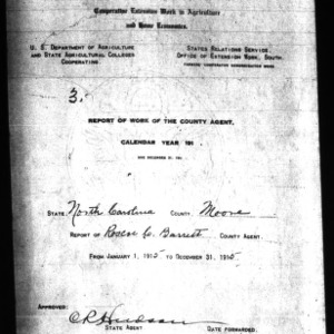 Report of Work of the County Agent, Moore County, NC