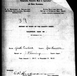 Report of Work of the County Agent, New Hanover