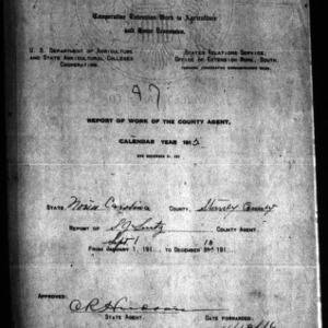 Report of Work of the County Agent, Stanly County, NC