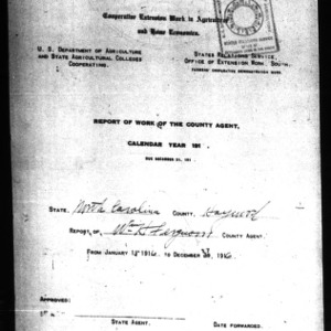 Report of Work of the County Agent, Haywood County, NC