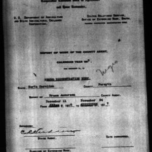 Report of Work of the County Agent, Negro Demonstration Work, Forsyth County, NC