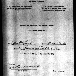 Report of Work of the County Agent, Pasquotank County, NC