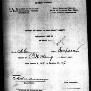 Report of Work of the County Agent, Negro Report, Sampson County, NC