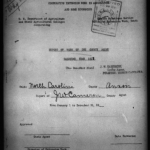 Report of Work of the County Agent, Anson County, NC