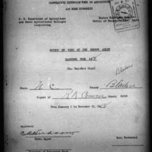 Report of Work of the County Agent, Bladen County, NC