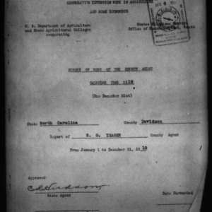 Report of Work of the County Agent, Davidson County, NC