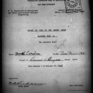 African American Report of Work of the County Agent, New Hanover County, NC