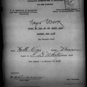 African American Report of Work of the County Agent, Vance County, NC