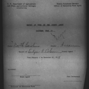 African American Report of Work of the County Agent, Anson County, NC