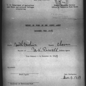 Report of Work of the County Agent, Chowan County, NC