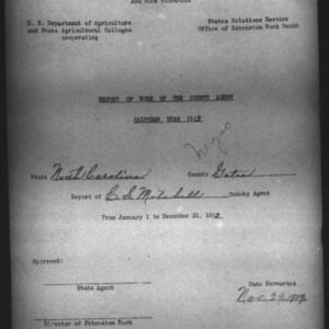 African American Report of Work of the County Agent, Gates County, NC