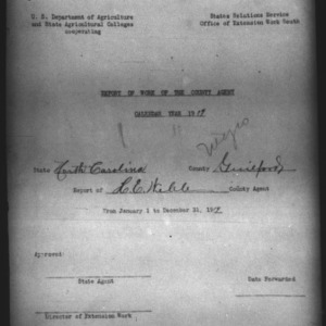African American Report of Work of the County Agent, Guilford County, NC