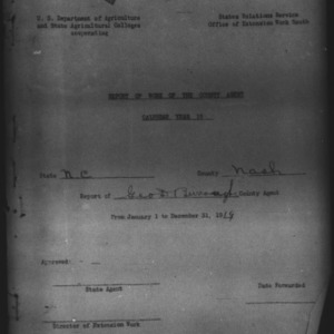 Report of Work of the County Agent, Nash County, NC