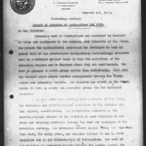 Report of Division of Horticulture for 1920