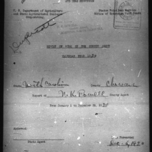 Report of Work of the County Agents, Chowan County, NC